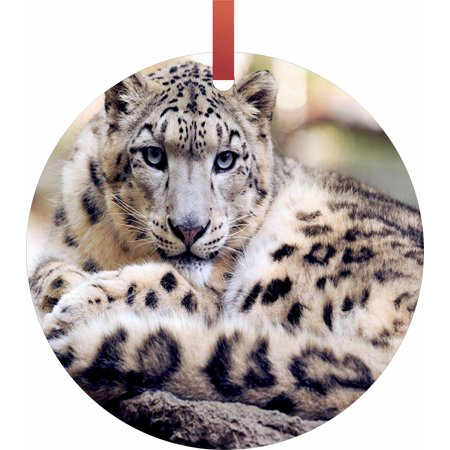 Snow Leopard Flat Round - Shaped Christmas Holiday Hanging Tree Ornament Disc Made in the U.S.A.](Leopard Christmas Ornaments)