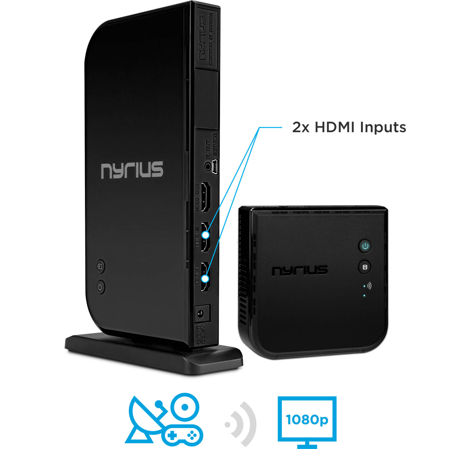 Nyrius Wireless HDMI 2x Input Transmitter & Receiver for ...