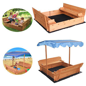 Ktaxon Covered Convertible Outdoor Sand Pit Fir Sandbox w...