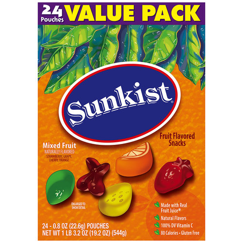 Sunkist? Mixed Fruit Fruit Flavored Snacks 24-0.8 oz. Pouches
