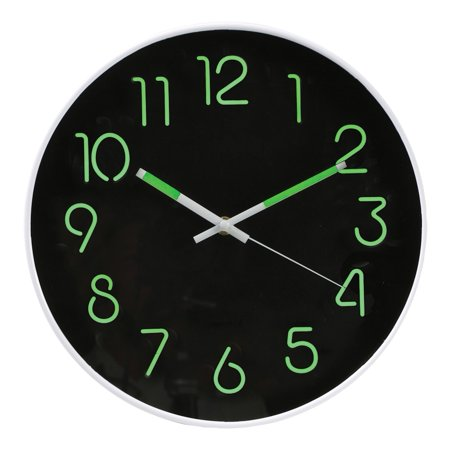 "Glow In The Dark Wall Clock - Analog Retro Style - 12"" Diameter Phosphorescent Hands & Numbers"