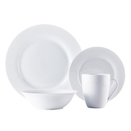 - ROSCHER Dinnerware Dish Set (16-Piece) White, Ceramic Round Rim Dishes | Dinner and Salad Plates, Appetizer Bowls, Drink Mugs | Classic Kitchen Style | Dishwasher Safe