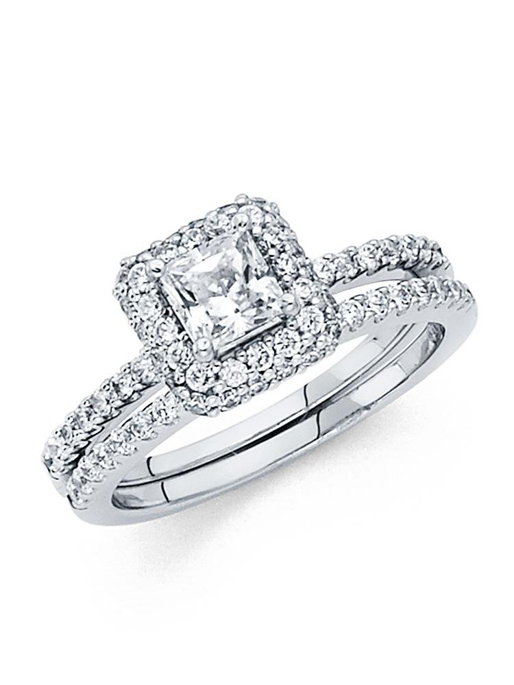 CZ Princess Halo Engagement Ring & Wedding Band 14k White Gold Cubic Zirconia Bridal Rings Set Side Stones by