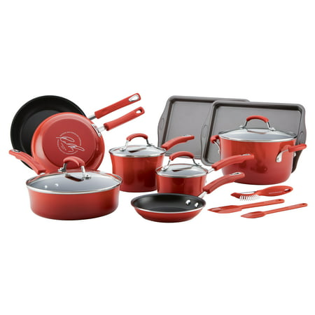 Farberware Stainless Steel Classic Cookware - Rachael Ray's 16 Piece Classic Brights Porcelain Enamel Nonstick Cookware Set