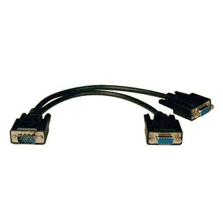 Tripp Lite High Resolution VGA Monitor Y Splitter Cable (HD15 M to 2x HD15 F) 1-ft.(P516-001-HR) ()
