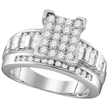 10kt White Gold Womens Round Diamond Cinderella Cluster Bridal Wedding Engagement Ring 1.00 Cttw - Cinderella Bridals