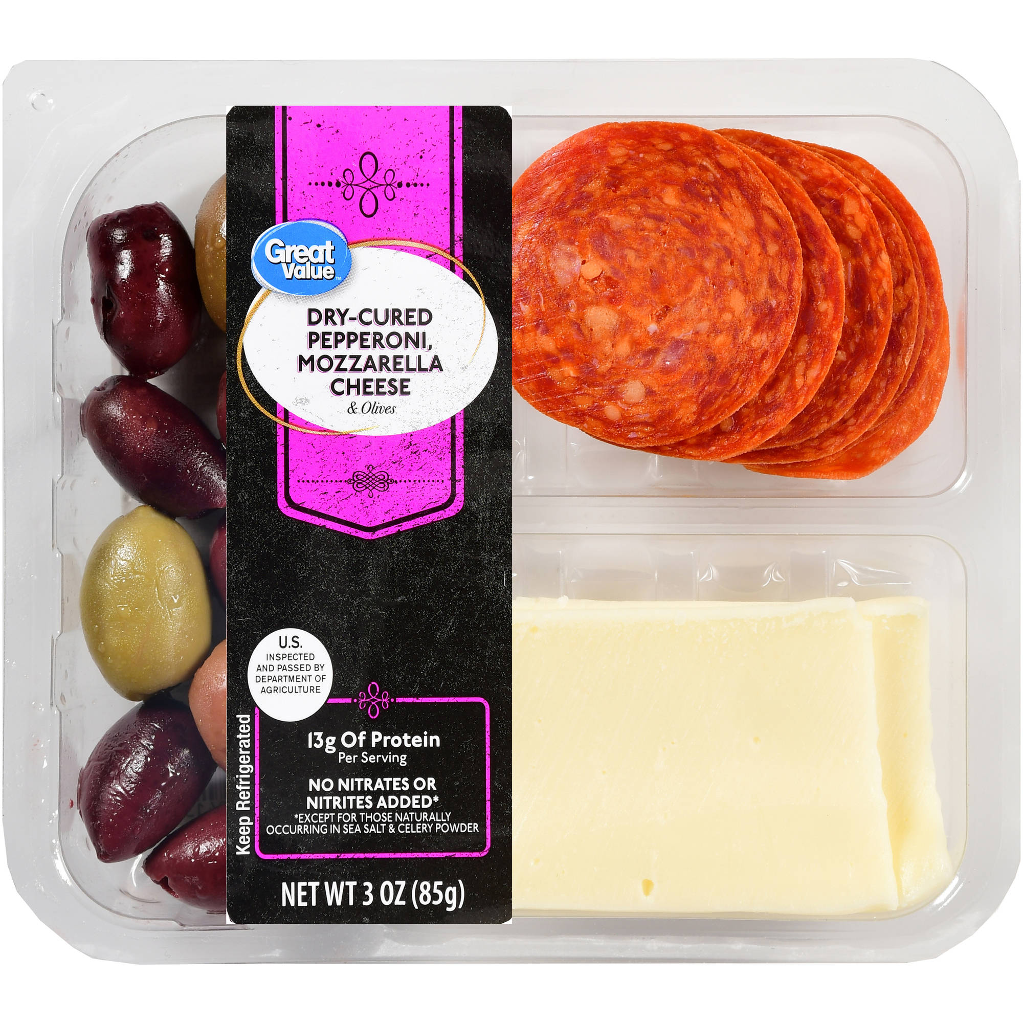 Great Value Dry Cured Pepperoni, Mozzarella Cheese & Olives, 3 oz