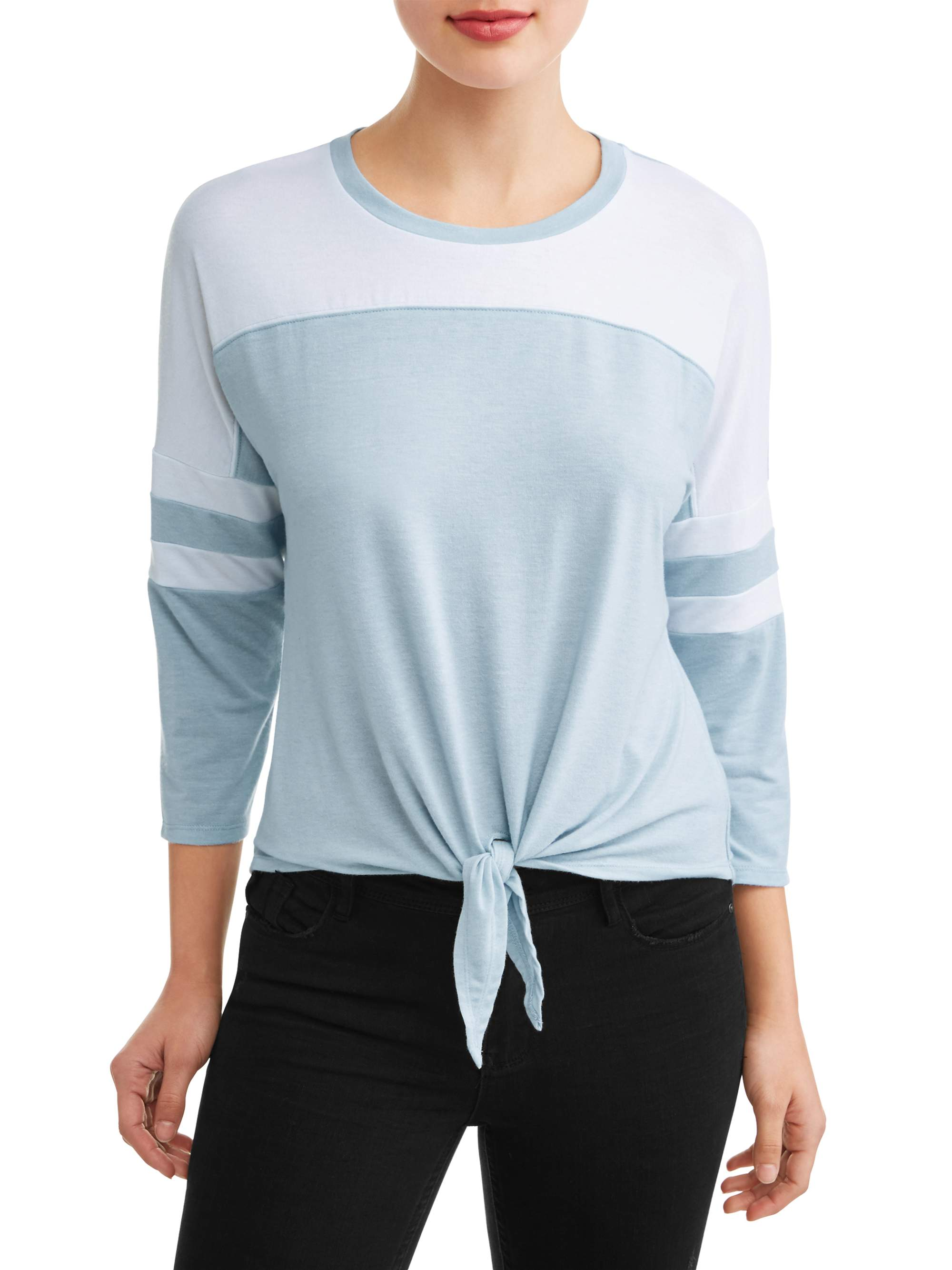 Juniors' Colorblock Tie Front Varisty Stripe Long Sleeve T-Shirt