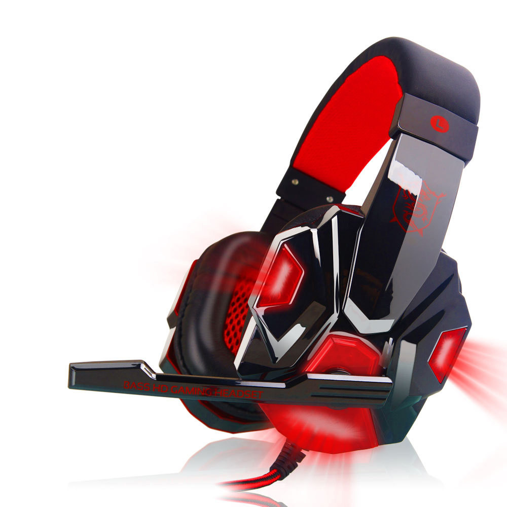 Huppin's Surround Stereo Gaming Headset Headband Headphone USB 3.5mm Mic LED for PC RD
