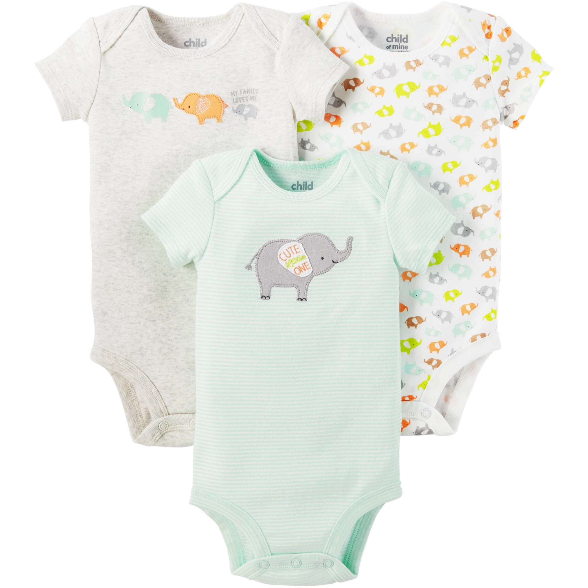 Child of Mine by Carter's Newborn Baby Neutral 3 Pack Bodysuit