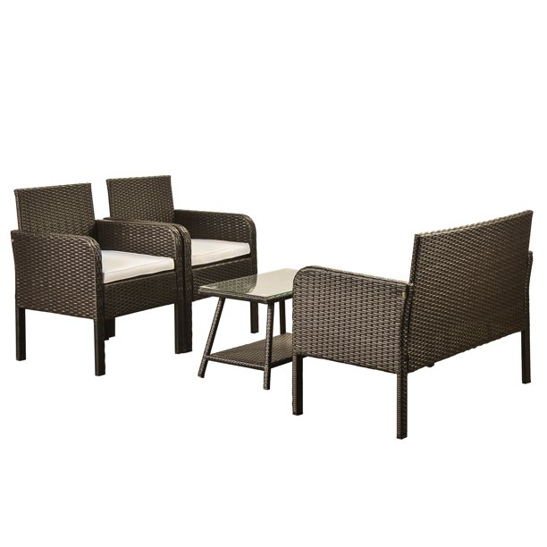 Loveseat Seats 2 Armchair Sofas, White Resin Wicker Patio Furniture Clearance