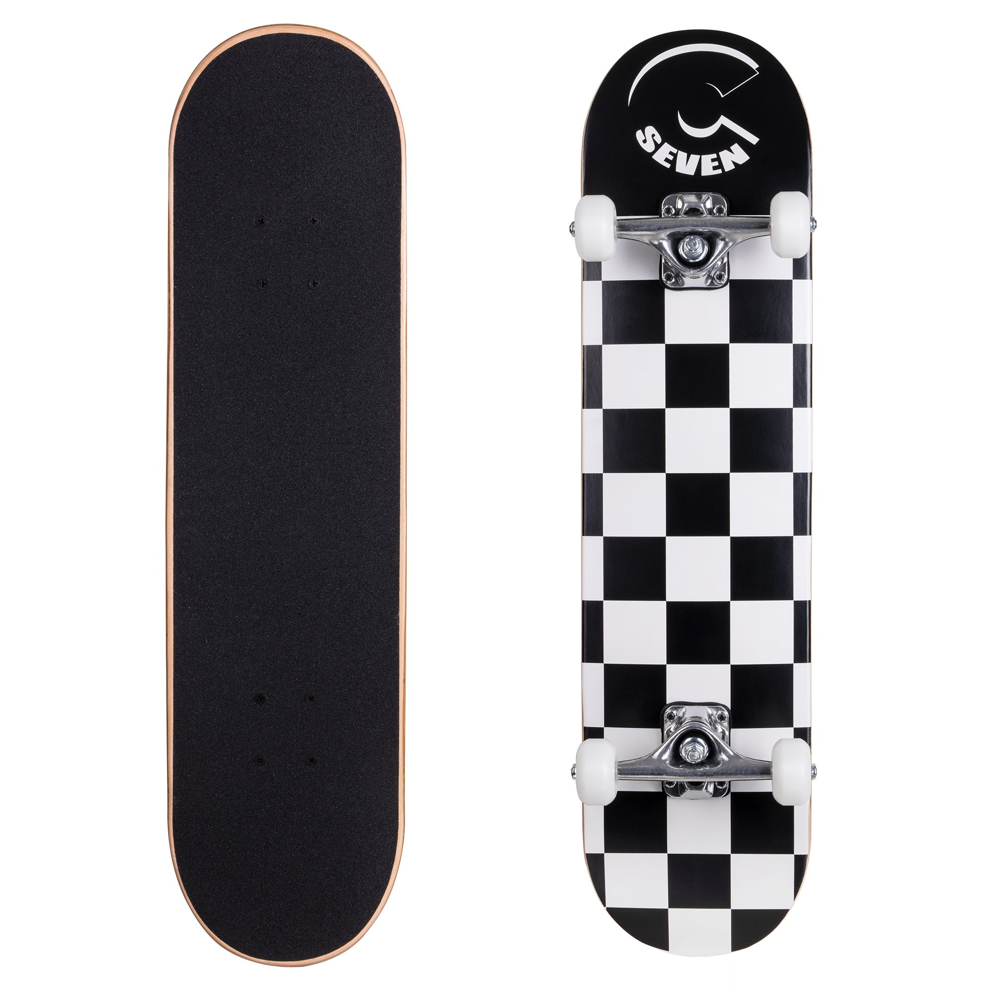 Cal 7 Complete Skateboard, 7.5 x 31 Inch Maple Deck, Popsicle Double Kicktail, Perfect for All Skate Styles (Checkerboard)