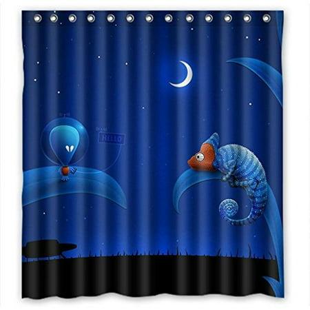 Ganma Animal Grass Moon Night Star Cartoon Shower Curtain Polyester Fabric Bathroom 60x72 Inches