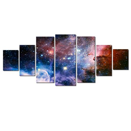 Decor Spice - Startonight Huge Canvas Wall Art Awesome Space ll, Home Decor, Dual View Surprise Artwork Modern Framed Wall Art Set of 7 Panels Total 39.37 x 94.49 inch