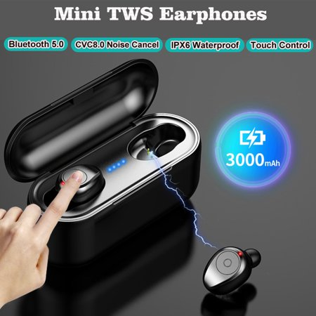 Grtxinshu Mini True Wireless Earbuds, CVC8 0 Double Noise Cancelling TWS  5 0 Touch Control Auto Pairing Earphones Headphones with Charging Box