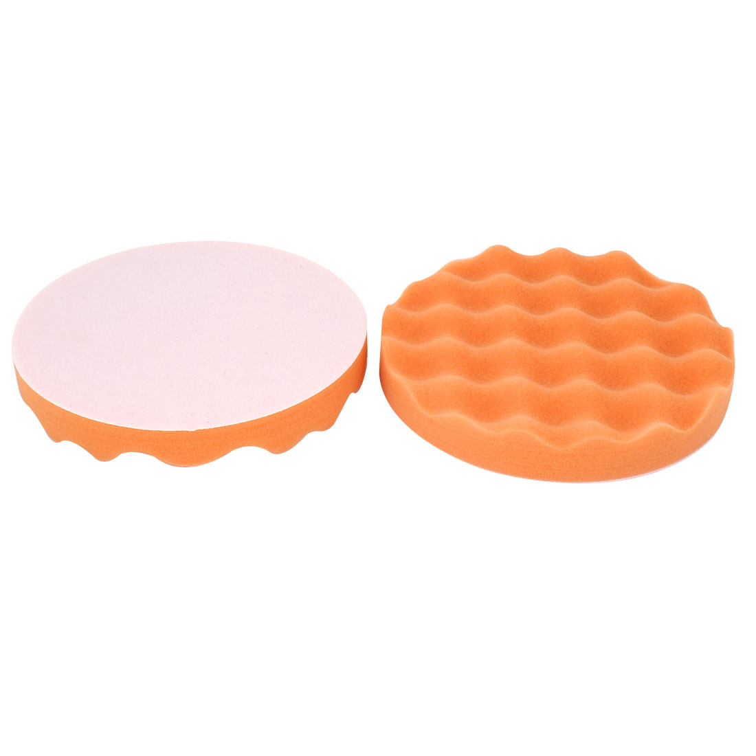 "Car 2pcs Wave Design Polishing Sponge Cleaning Pads Orange 7"" Diameter - image 1 de 1"
