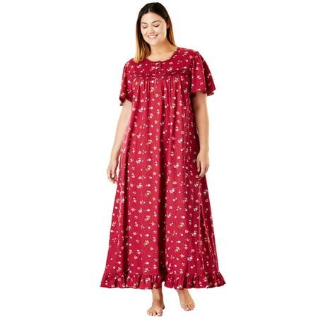 Dreams & Co. - Plus Size Cotton Knit Gown By Dreams & Co. - Walmart.com
