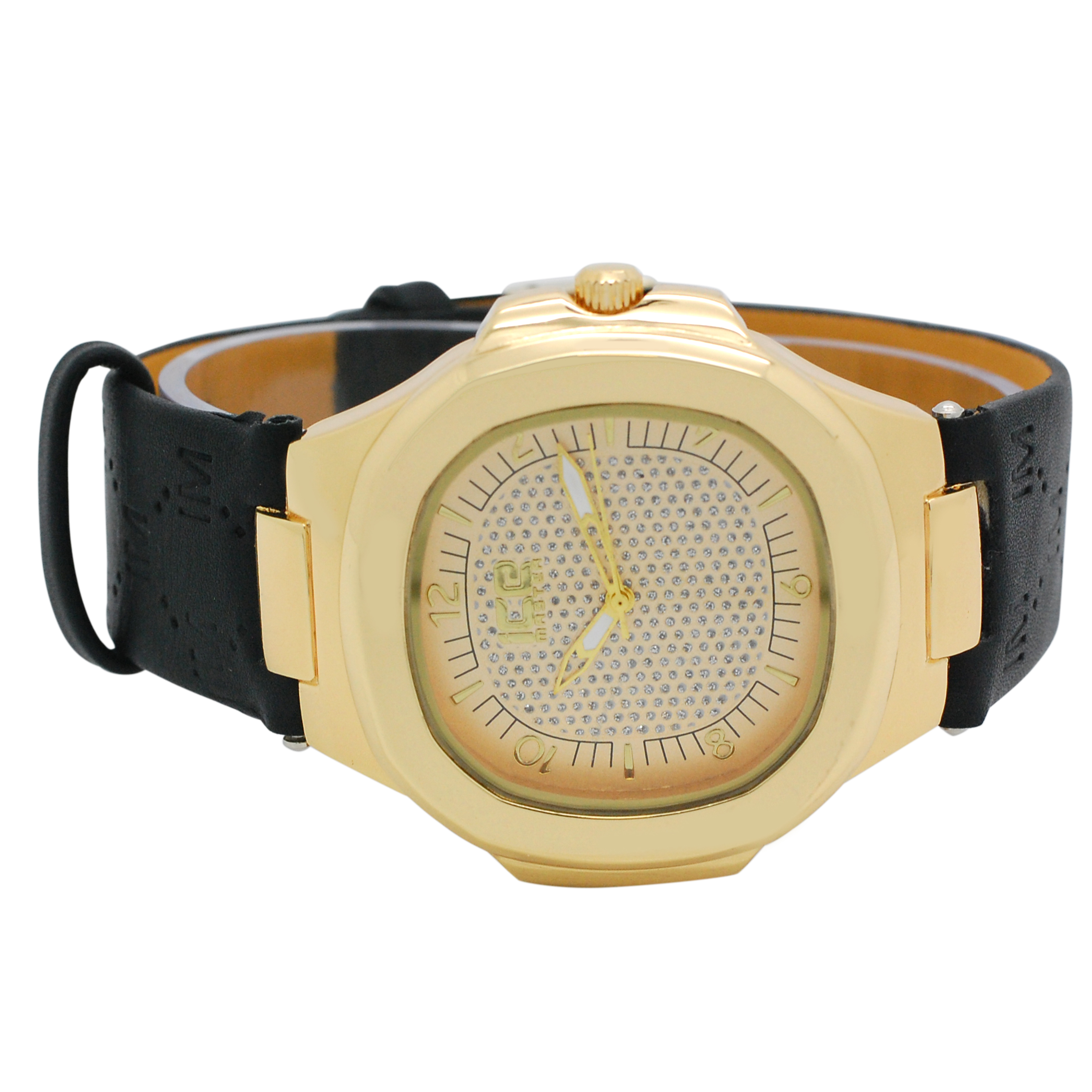 Mens Ice Master Fashion Trendy Gold Case Gold Dial with Black Designer Printed Leather Band