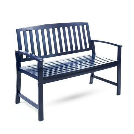 Miraculous Loja Outdoor Acacia Wood Bench Navy Blue Finish Cjindustries Chair Design For Home Cjindustriesco