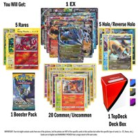 Pokemon EX Guaranteed with Booster Pack, 5 Rare Cards, 5 Holo/Reverse Holo Cards, 20 Regular Pokemon Cards and TopDeck Deck Box