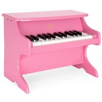 Best Choice Products Kids 25-Key Wooden Learn-To-Play Mini Piano w/ Note Stickers, Music Book - Pink