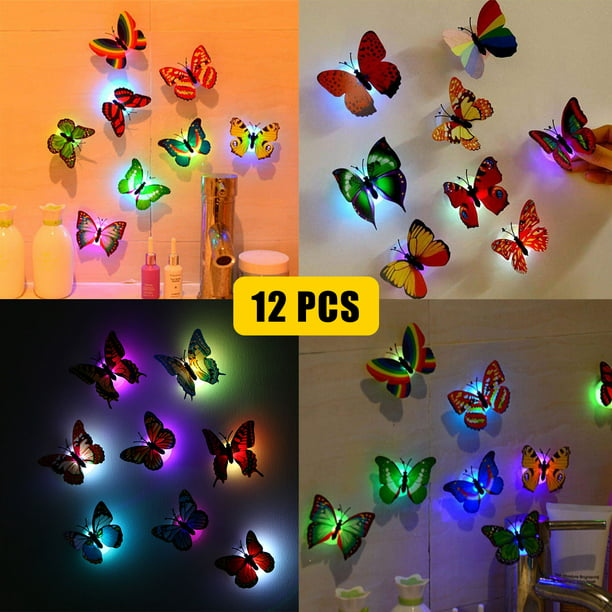 12-pack 3D Butterfly Wall Stickers LED Light Removable Butterfly Wall Decals Colorful Butterflies Art Decor Wall Stickers Murals for Kids Baby Boy Girls Bedroom Classroom Offices TV Background