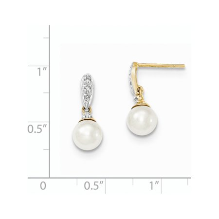 14k Yellow Gold Diamond and 6-7mm Round FW Cultured Pearl Post Dangle (6x17mm) Earrings - image 2 of 3