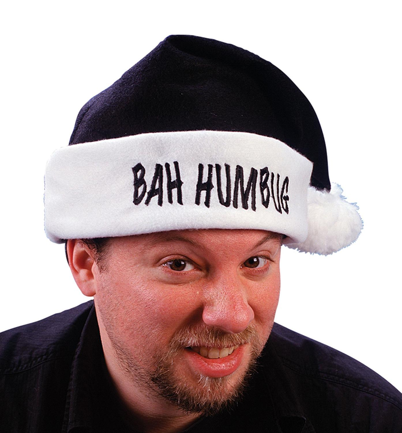 "17"" Black ""Bah Humbug"" Christmas Santa Claus Hat with White Cuff - Adult Size"