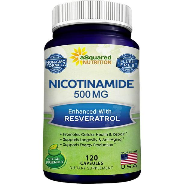 Nicotinamide With Resveratrol 120 Veggie Capsules Vitamin B3