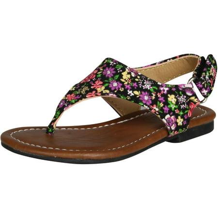 Kali Footwear Girls Edit Jr Fashion Flats Sandals, Black, 10 Girl Black Footwear