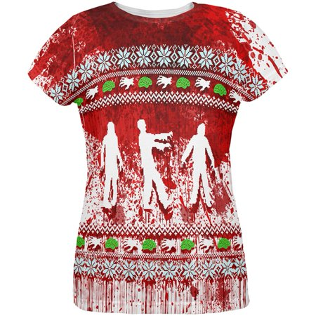 Ugly Christmas Sweater Bloody Zombie Attack Survivor All Over Womens T (Halloween's Over Time For Christmas)