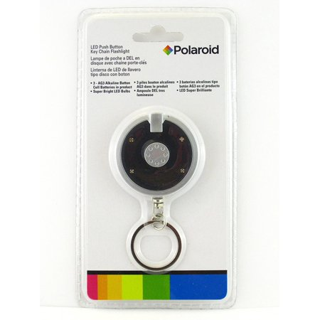 LED Push Button Disc Key Chain Flashlight (Black), LED Easy Push Button By Polaroid Ship from - Flashlight Flying Disc