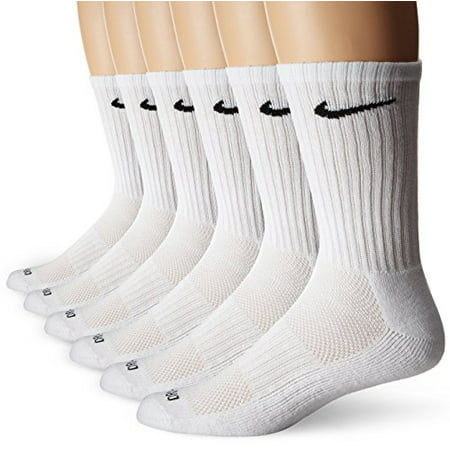Nike Unisex Dri-FIT Cushioned Crew Training Socks (6 Pair), White, Large (Nike Socks Dri Fit No Show)