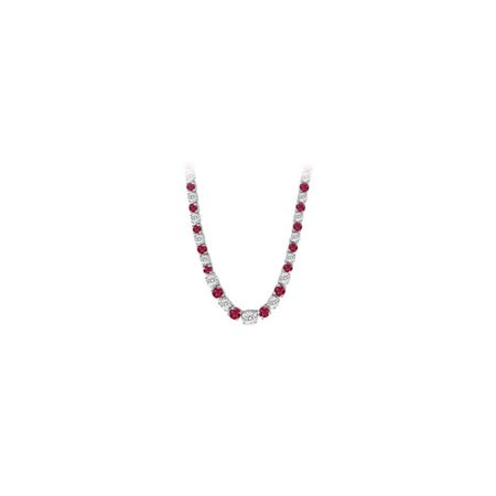 LoveBrightJewelry Graduated Created Ruby  CZ Tennis Necklace in Sterling Silver 17.00.ct.tw