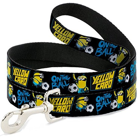 Dog Leash Minions Soccer 2 Poses ON THE BALL YELLOW CARD Black Blues P