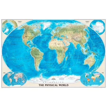 National Geographic World Physical Map Poster - 36x24