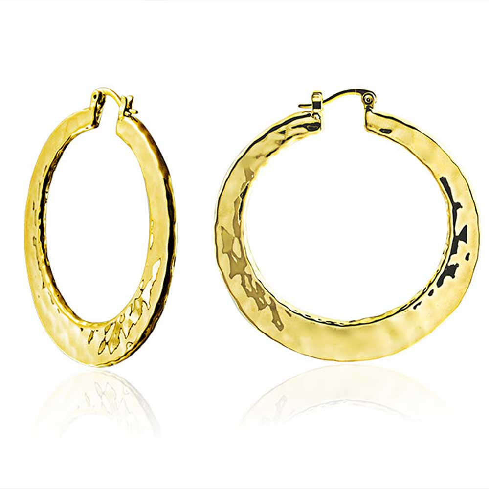 Bling Jewelry Plated Brass Large Hammered Hoop Earrings High Polished 2in