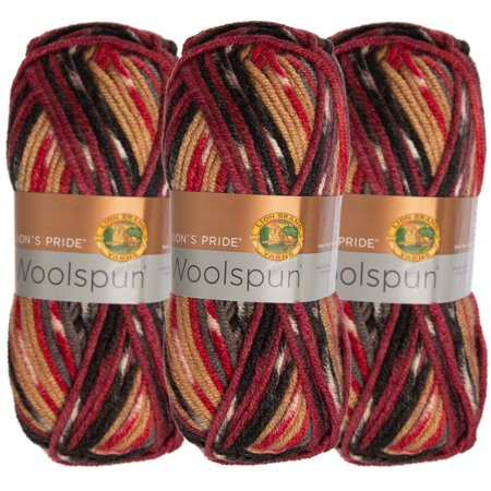 Lion Brand (3 Pack) Woolspun Acrylic & Wool Soft Yarn for Knitting Crocheting Bulky -