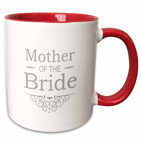 3dRose Mother of the Bride in silver - Wedding - part of matching marriage party set - grey gray swirls - Two Tone Red Mug, 11-ounce