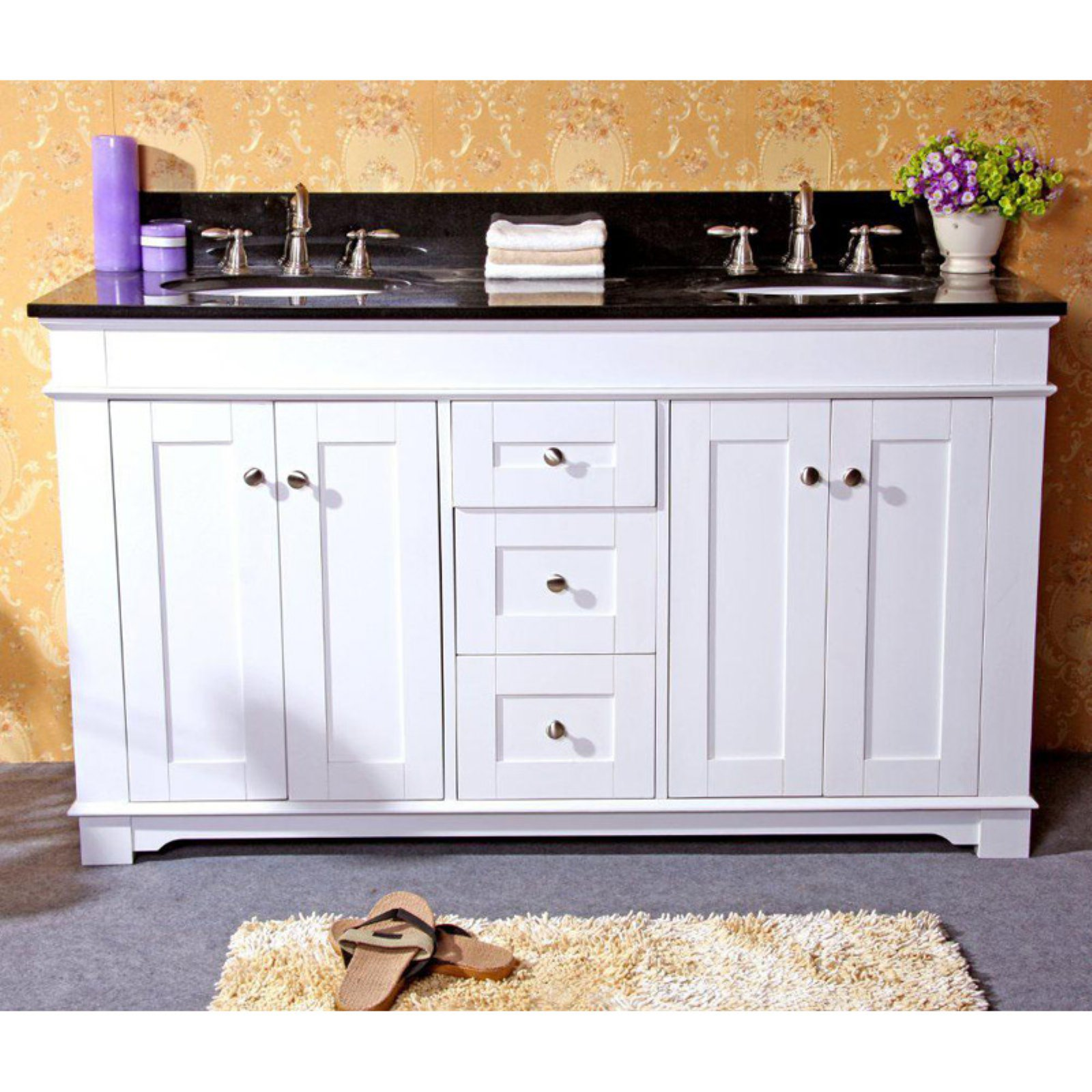 Legion Furniture 61W x 22D in. Kingston Stone Double Sink Vanity Top