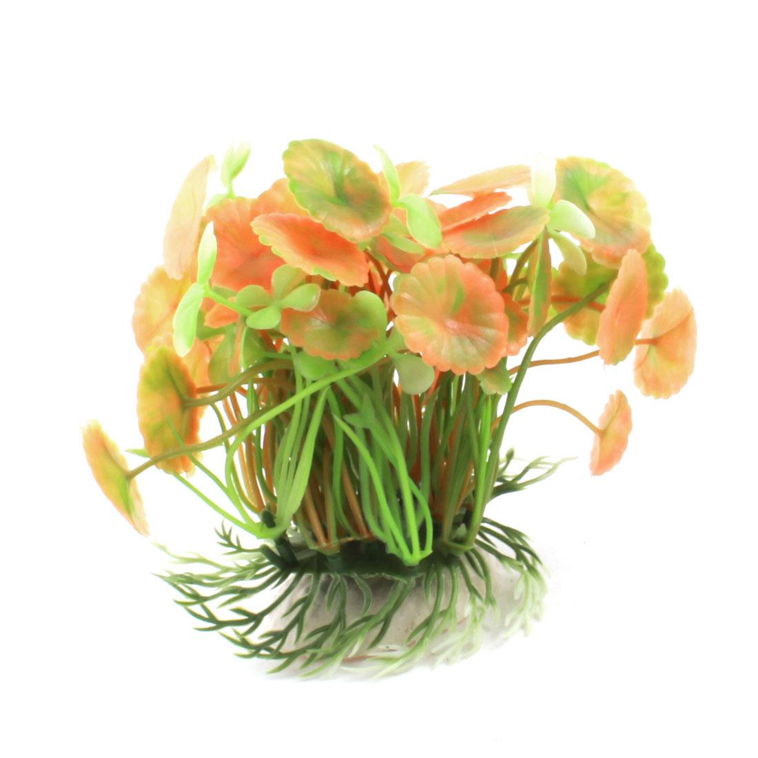 """Fish Tank Aquarium Orange Green Plastic Manmade Underwater Plants Grasses Ornament 4.7"""" Height - image 2 de 2"""