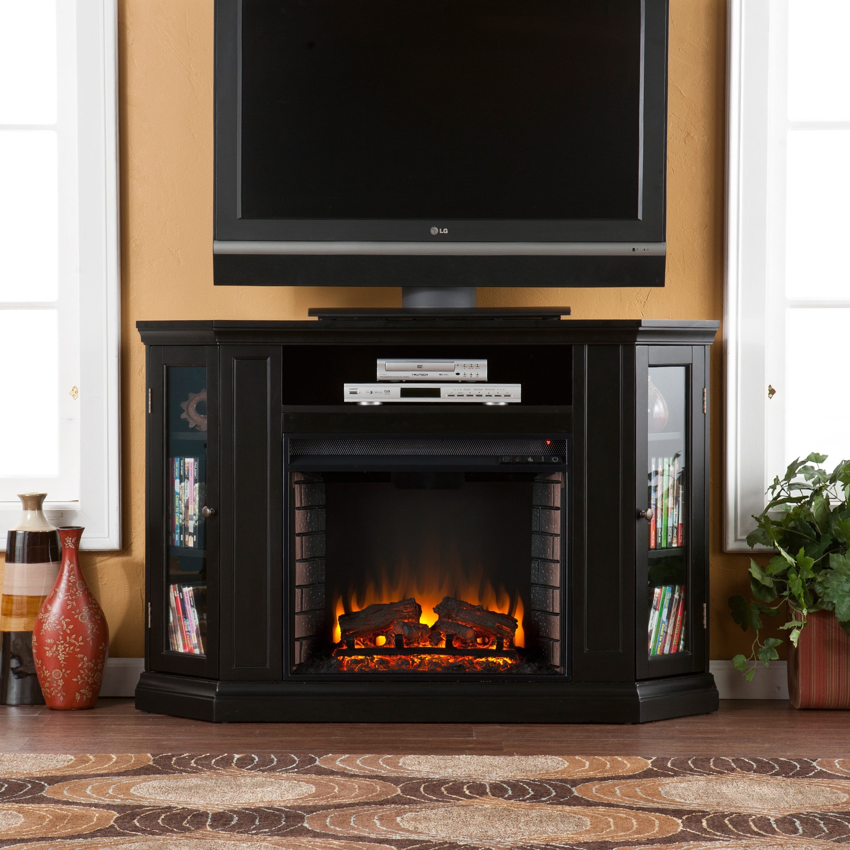 Harper Blvd  Claremont Black Media Console Fireplace