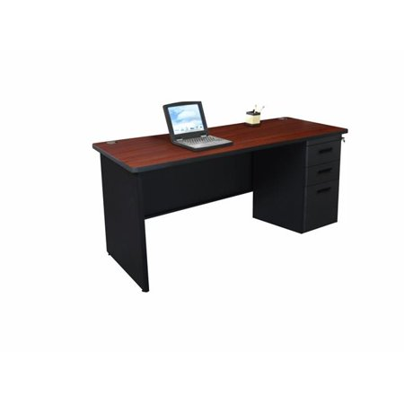- Pronto PCR6024SP-B-BK-MADN 60 W x 24 D Single Full Pedestal Credenza, Mahogany Laminate & Black Finish