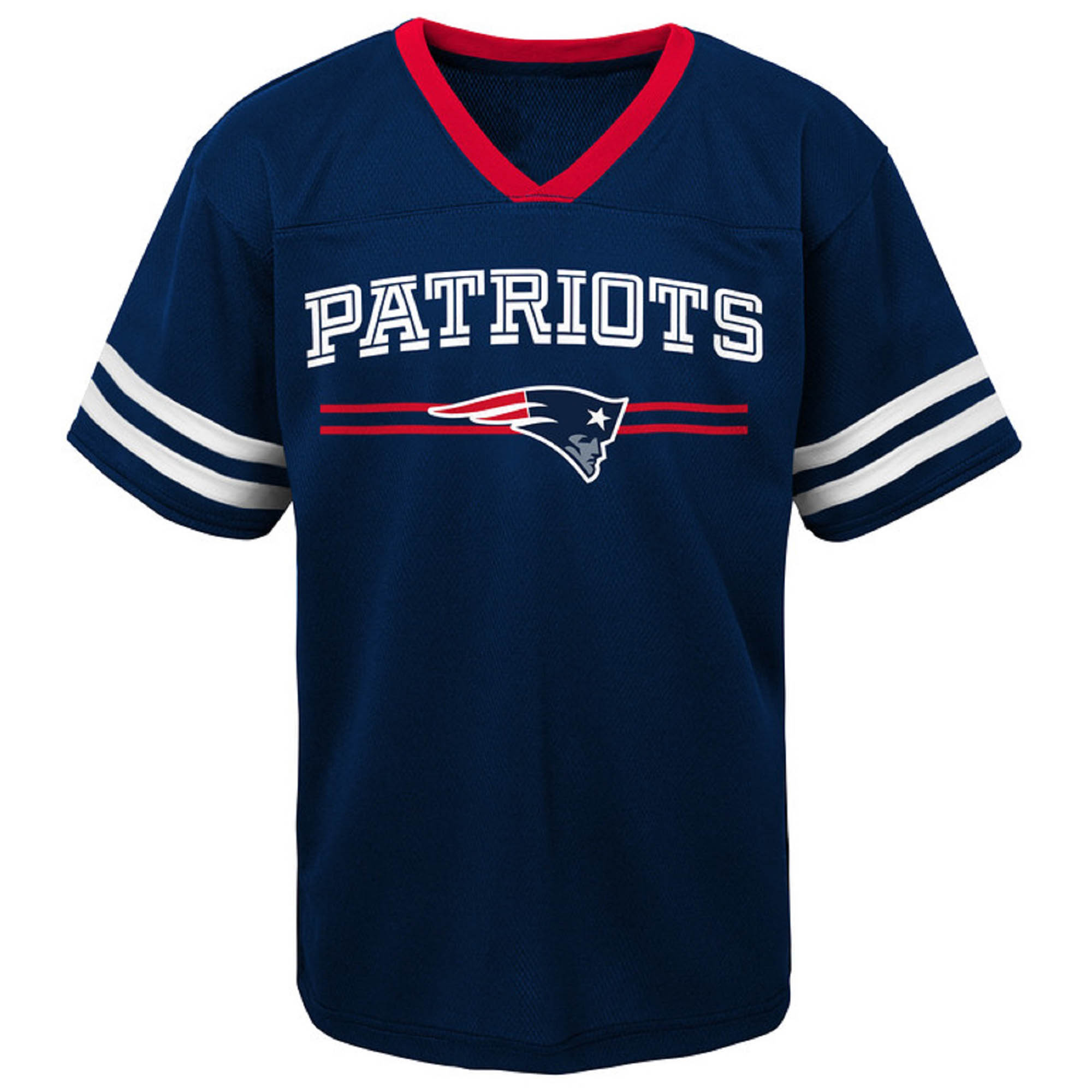 Toddler Navy New England Patriots Mesh Jersey V-Neck T-Shirt