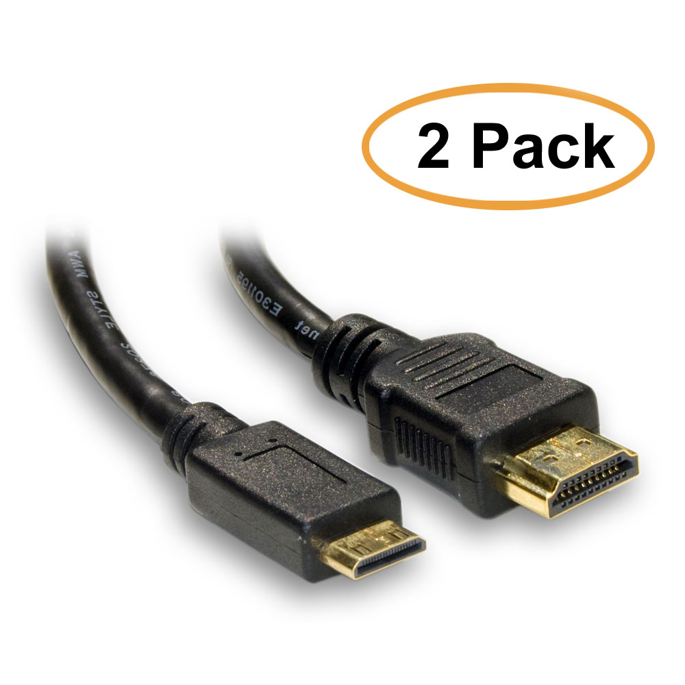 2 Pack HDMI Male to Mini HDMI Male Cable Type C 10 Feet