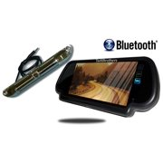 Tadibrothers 7 Inch Mirror with Bluetooth and CCD Black License Plate Backup Camera