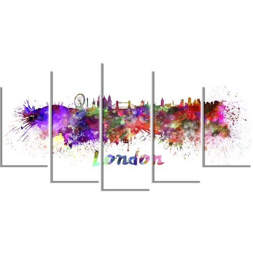 Design Art 'London Skyline' 5 Piece Wall Art on Wrapped Canvas Set