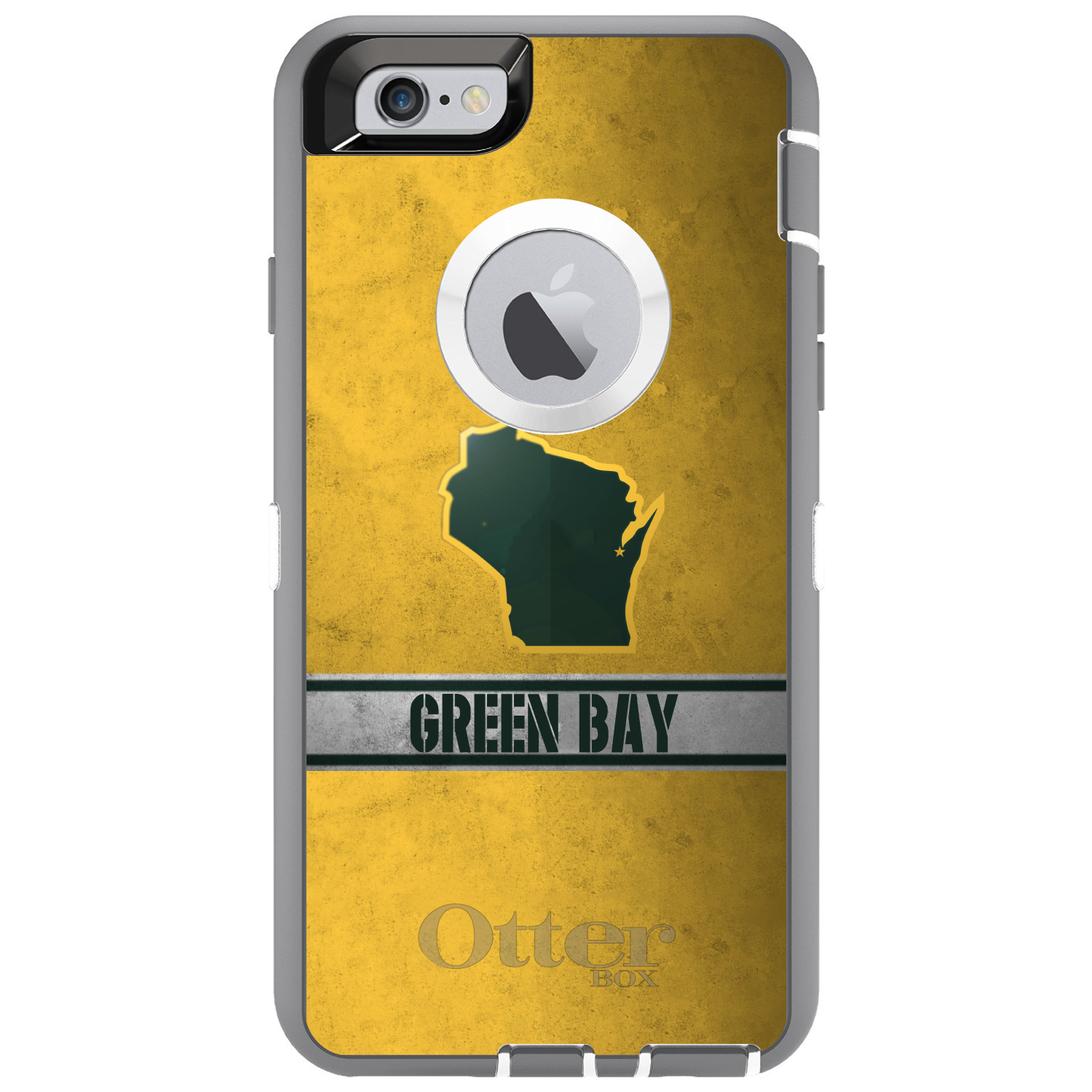 "DistinctInk™ Custom Grey OtterBox Defender Series Case for Apple iPhone 6 / 6S (4.7"" Screen) - Green Bay Wisconsin"
