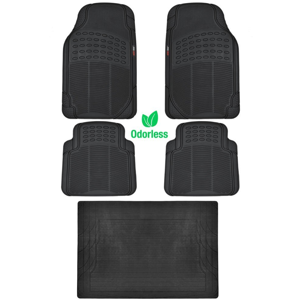 BDK BLACK 5 Piece Set Premium Heavy Duty Odorless Mats for Ford C MAX, Odorless Material 100% Rubber Polymer raised surface for tractions By Motor Trend