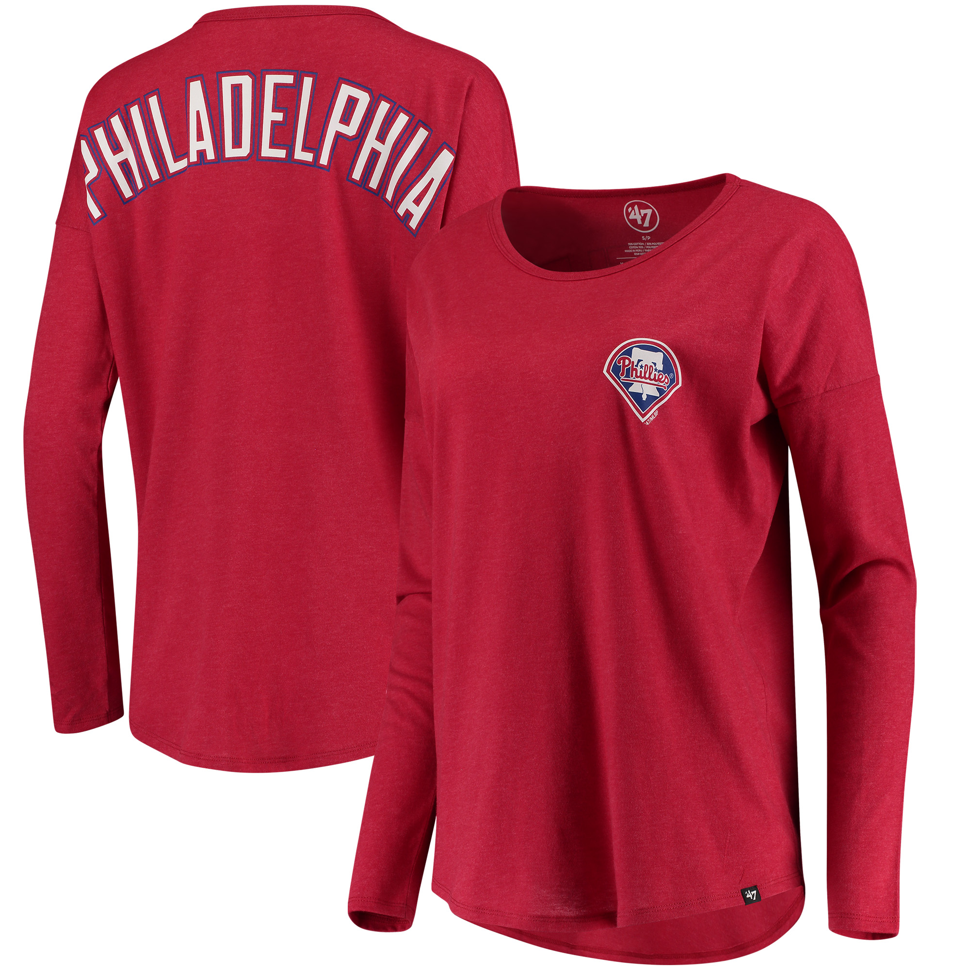 Philadelphia Phillies '47 Women's Courtside Long Sleeve T-Shirt - Red